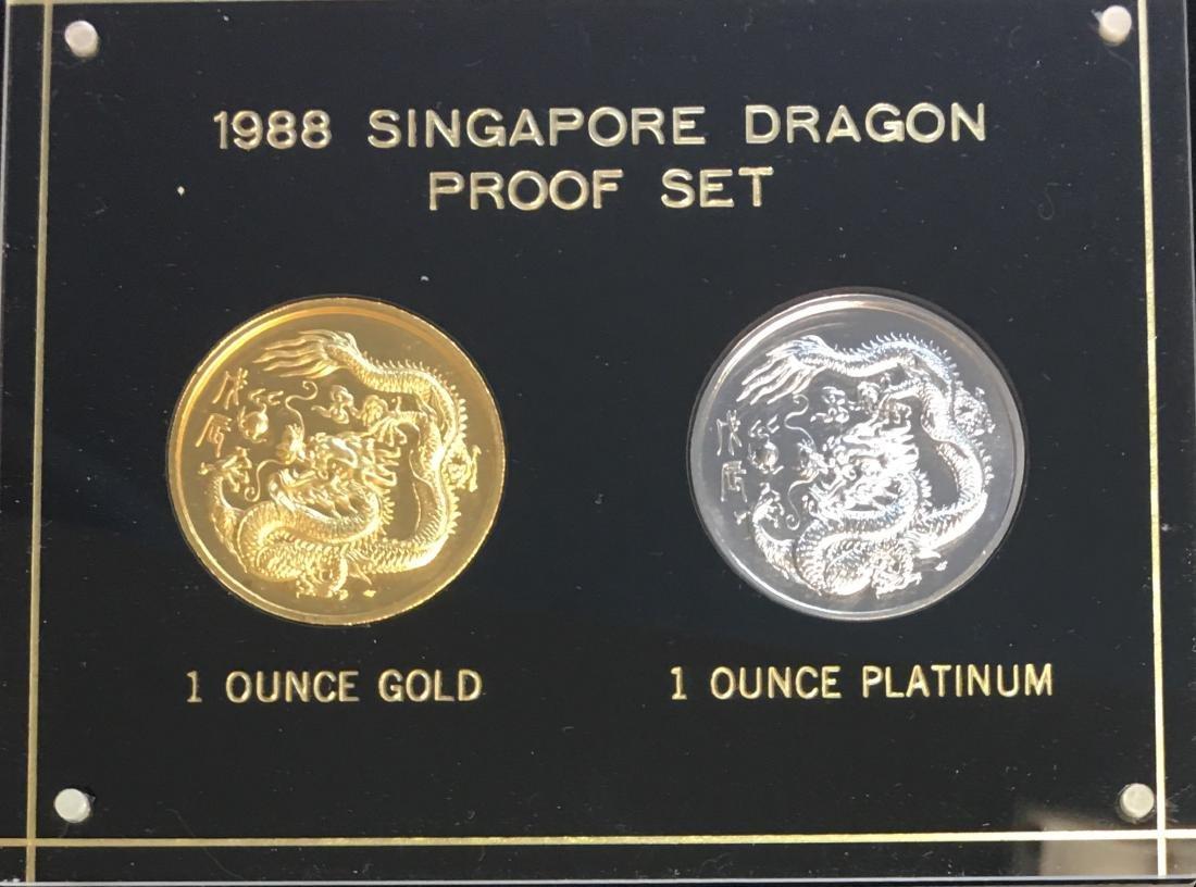 1988 Singapore Dragon Proof Set - 100 Singold 1 oz
