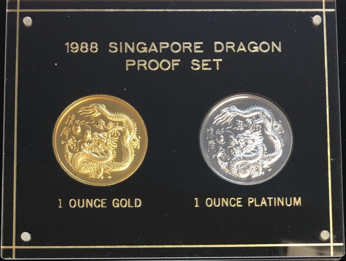 1988 Singapore Dragon Proof Set - 100 Singold 1 oz - 2