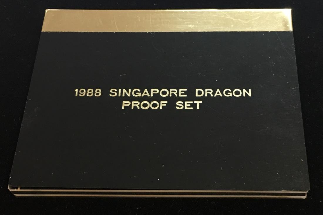 1988 Singapore Dragon Proof Set - 100 Singold 1 oz - 3