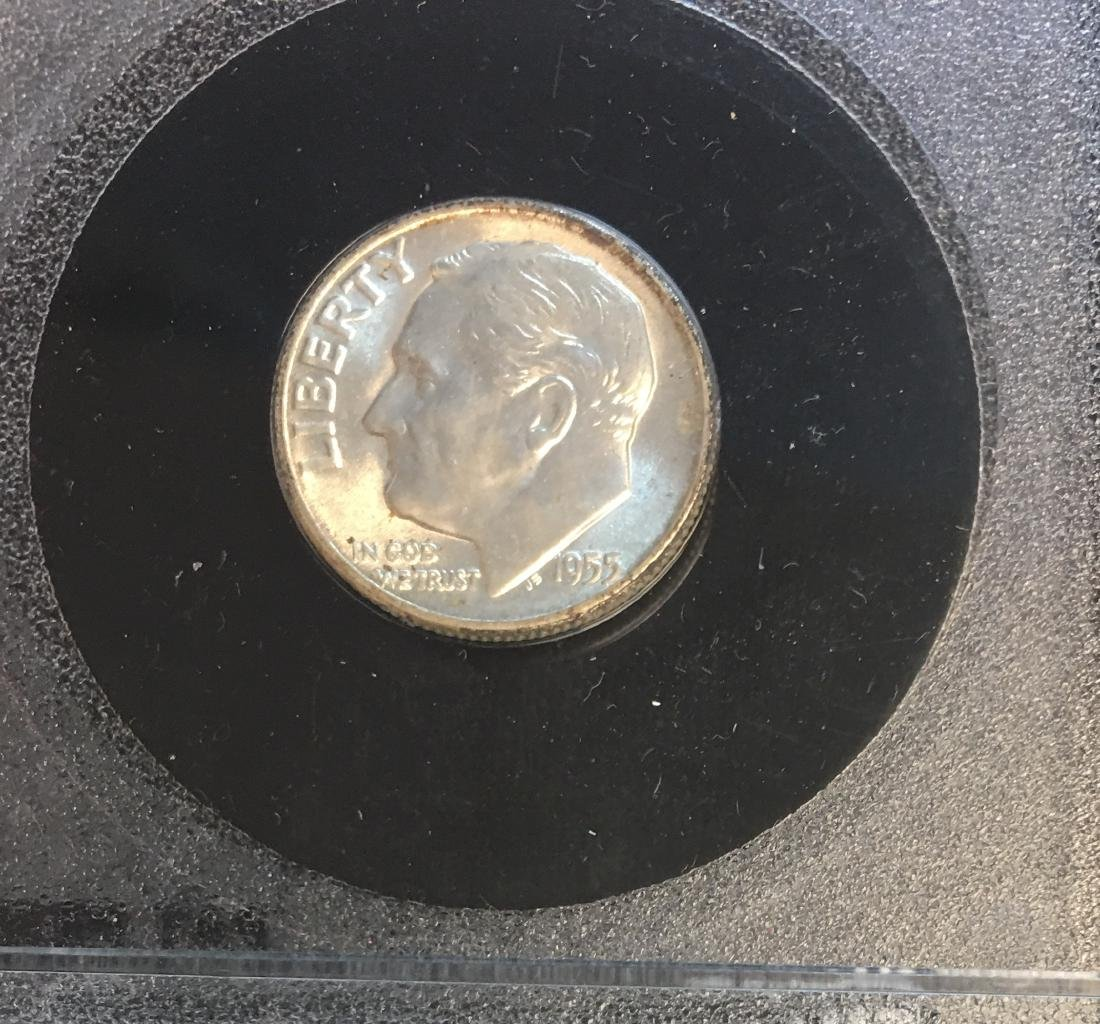 1955-S 10C Roosevelt Dime in a Plastic Holder - 3