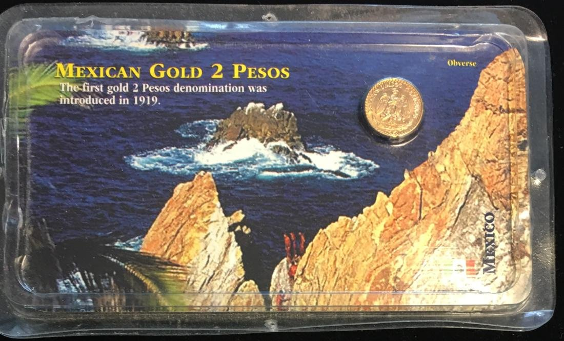 1945 Mexican Gold 2 Pesos Uncirculated 90% Gold 1.66