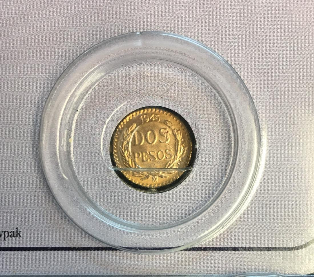 1945 Mexican Gold 2 Pesos Uncirculated 90% Gold 1.66 - 4