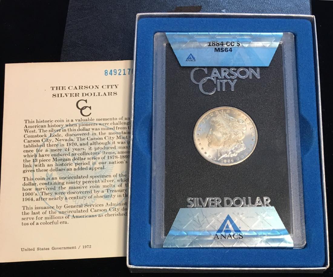 1884-CC $1 Morgan Silver Dollar ANACS MS64 - 5