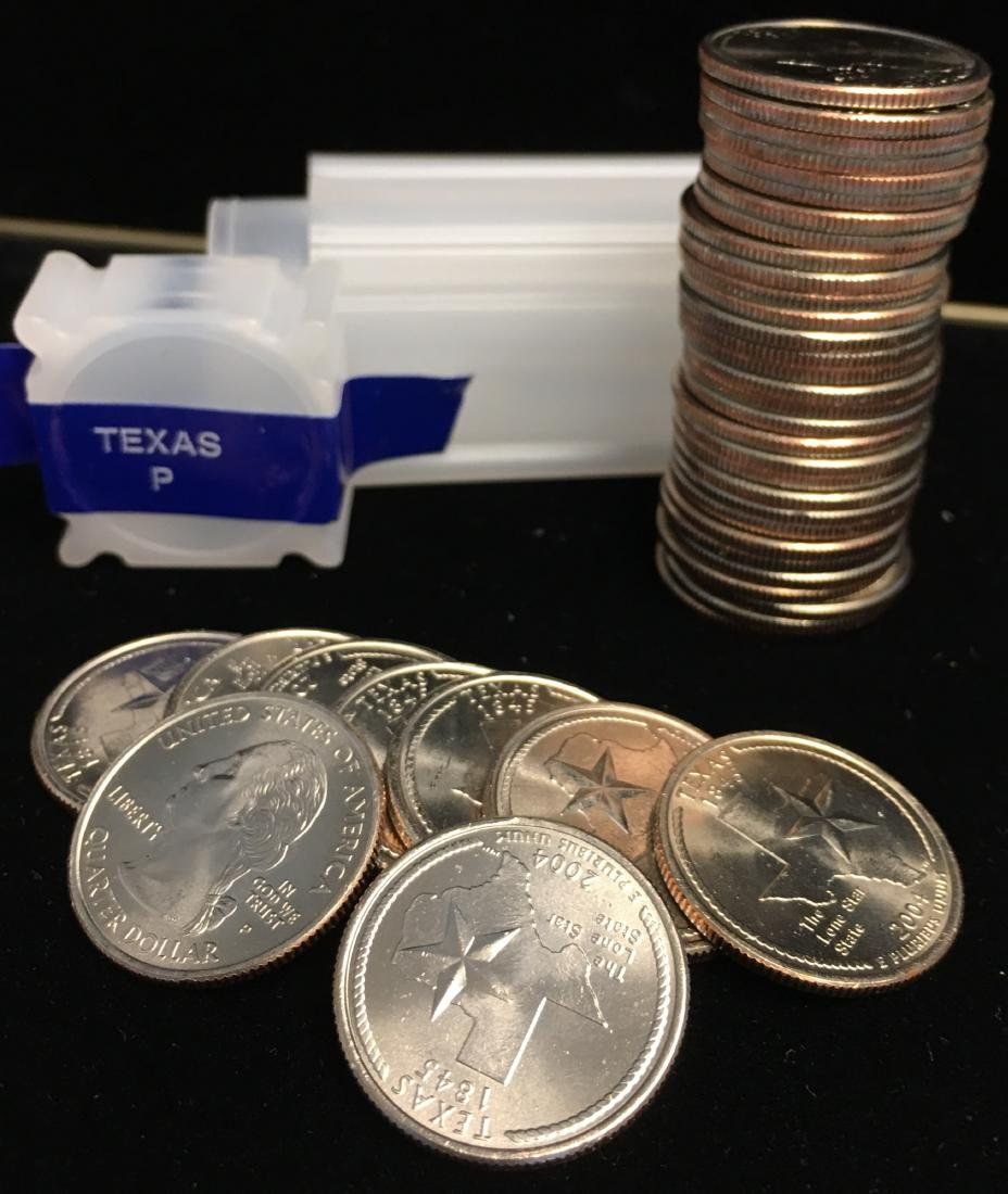 2004-P 25c Texas Quarter Roll of 40 Uncirculated
