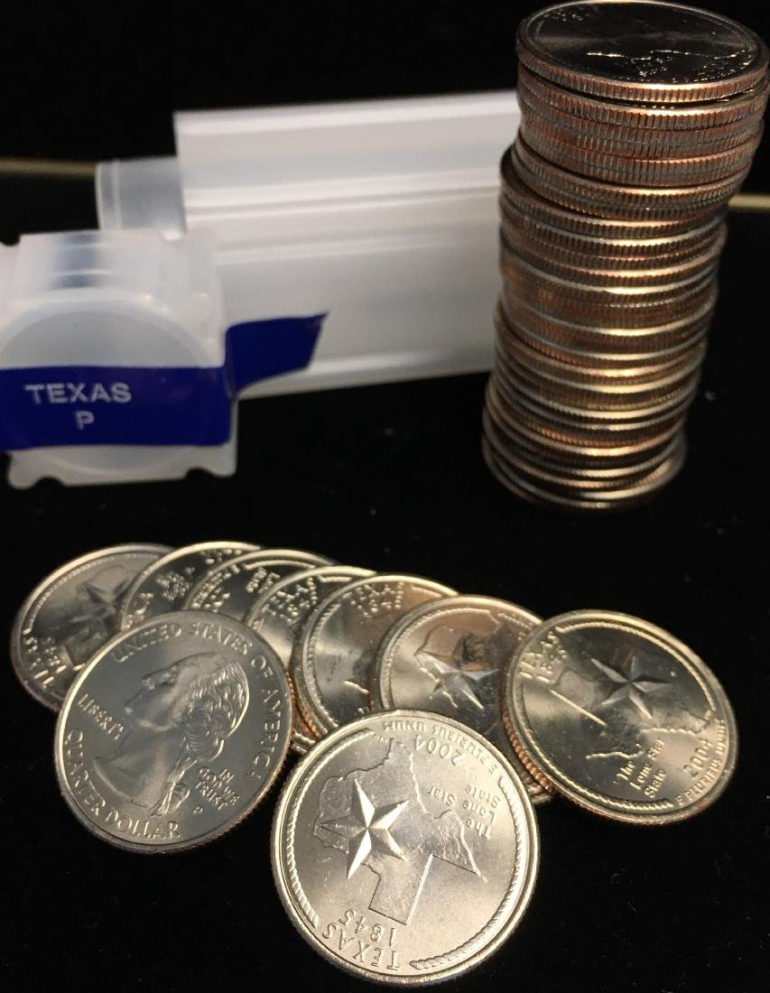 2004-P 25c Texas Quarter Roll of 40 Uncirculated - 3