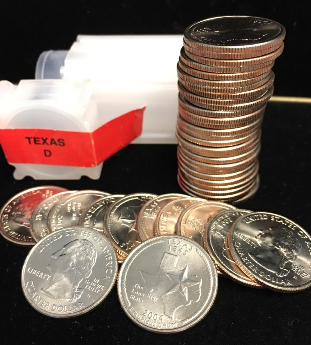 2004-D 25c Texas Quarter Roll of 40 Uncirculated - 2