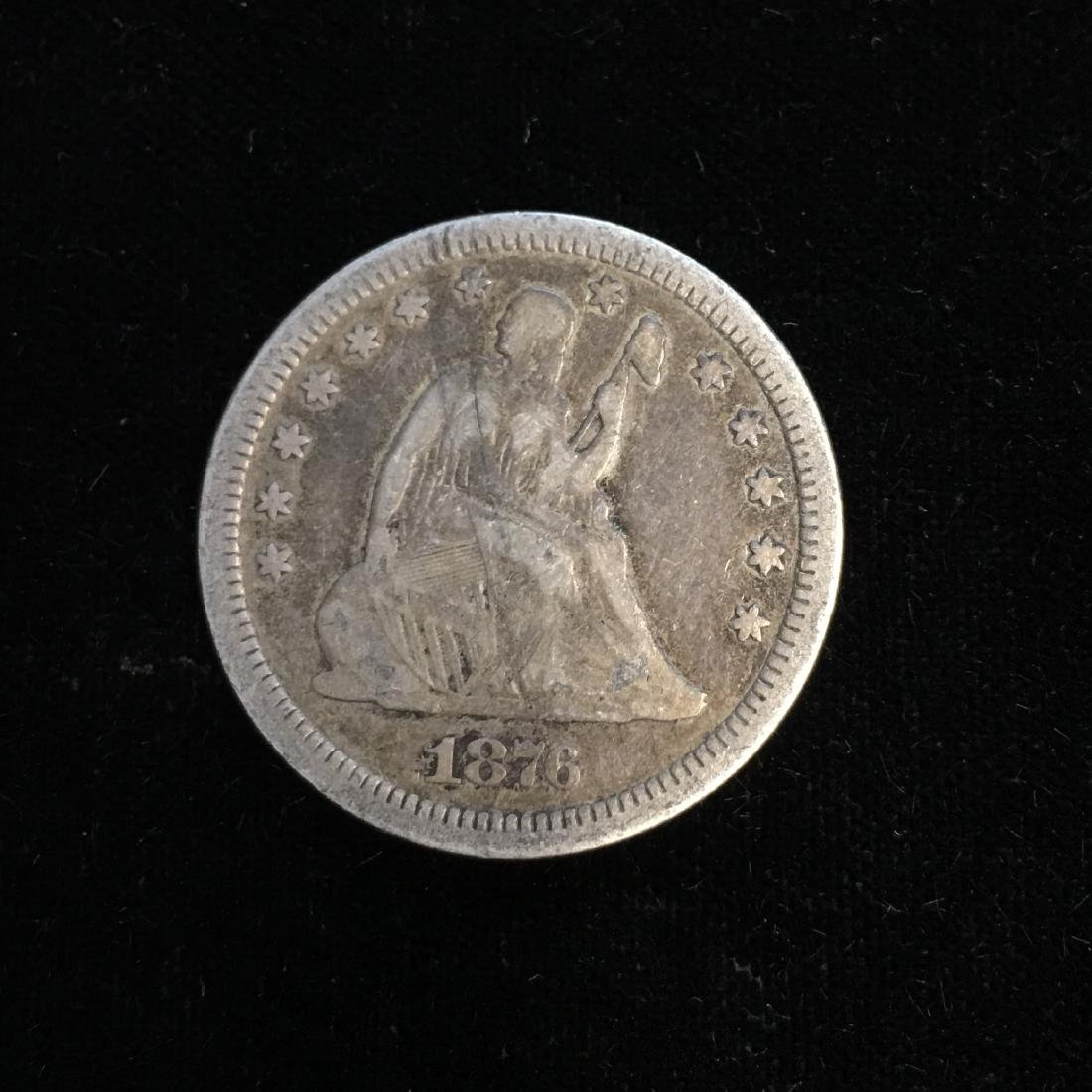 1876-CC 25C Liberty Seated Quarter Fine
