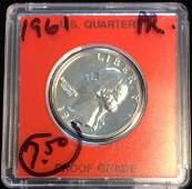 1961P 25C Washington Silver Quarter Proof