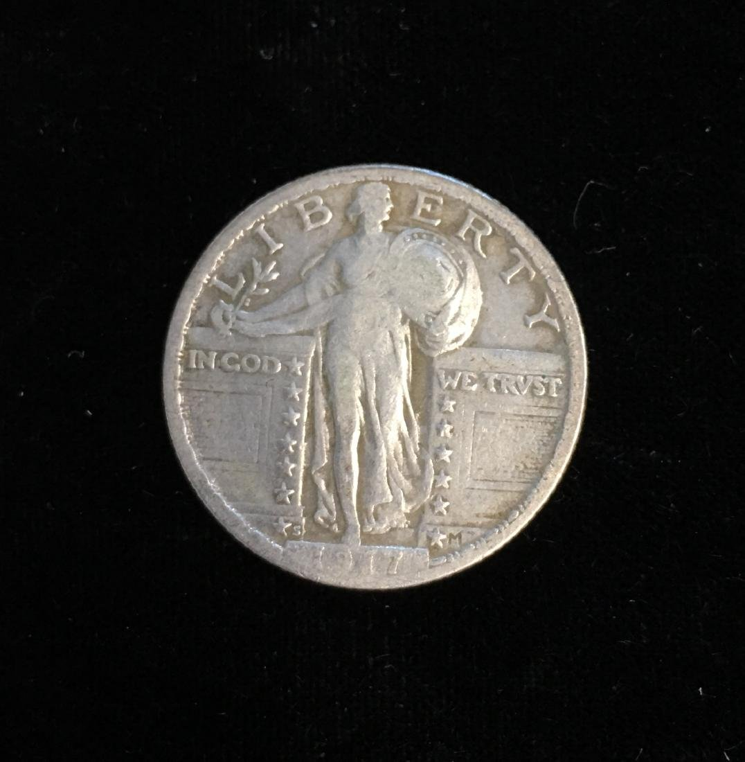 1917-S 25C Standing Liberty Silver Quarter Type II - VG