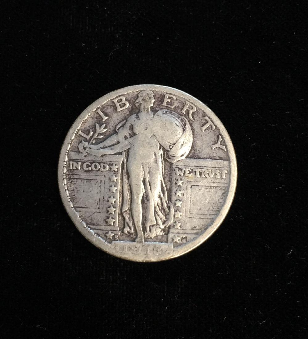 1918-S 25C Standing Liberty Silver Quarter - VG