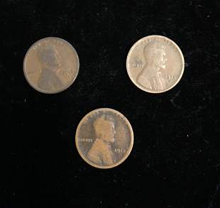 Set of 3 - 1912-D 1c Lincoln Cents Good to VF