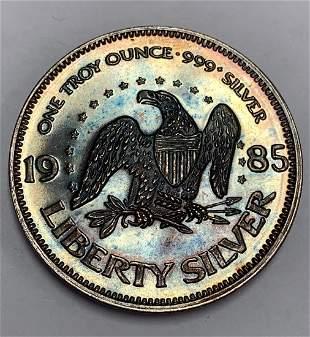 Silver Round 1 tr. oz .999+ Pure Silver - 1985 Liberty
