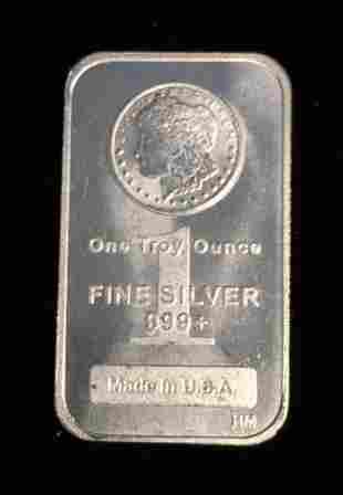 1 tr. oz. .999+ Fine Silver Art Bar Made in USA HM