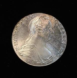 THALER RESTRIKE 1780 MINT STATE AUSTRIAN SILVER - M.