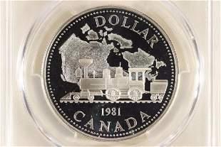 1981 Canada Railroad Proof Silver Dollar in the Box,