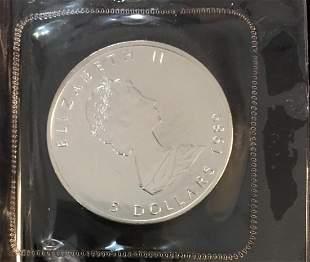 1989 $5 Canada Maple Leaf 1oz. Fine Silver Sealed