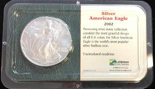 2002 $1 American Silver Eagle 1oz Littleton Coin