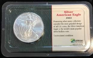 2003 $1 American Silver Eagle 1oz Littleton Coin