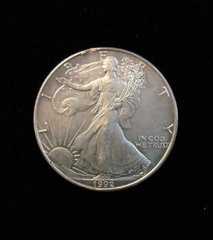 1992 $1 American Silver Eagle 1oz Fine Silver