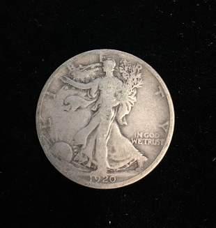 1920-D 50C Silver Walking Liberty Half Dollar VG