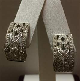 14 kt Ladies .90 ct tw Diamond Filigree Earrings 5.9