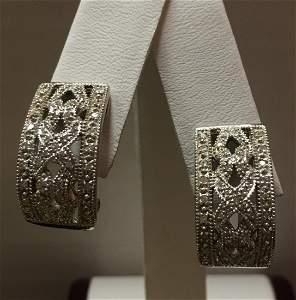 14 kt Ladies .90 ct tw Diamond Filigree Earrings 5.9