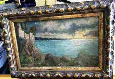Emilio Gola (Italian 1851-1923) Lake View Oil on Canvas