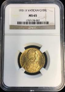 1931 X Vatican Gold 100 Lire NGC MS65 KM #9