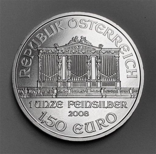 2008 1,50 Euro Austria 1 oz Silver Philharmonic BU - Mar 14