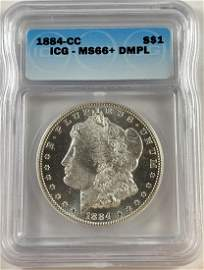 1884-CC $1 Morgan Silver Dollar ICG MS66+DMPL White