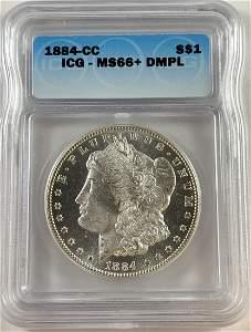 1884-CC $1 Morgan Silver Dollar ICG MS66+DMPL White