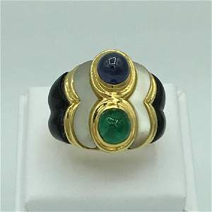 18K Yellow Gold Sapphire Emerald Onyx and Mother of