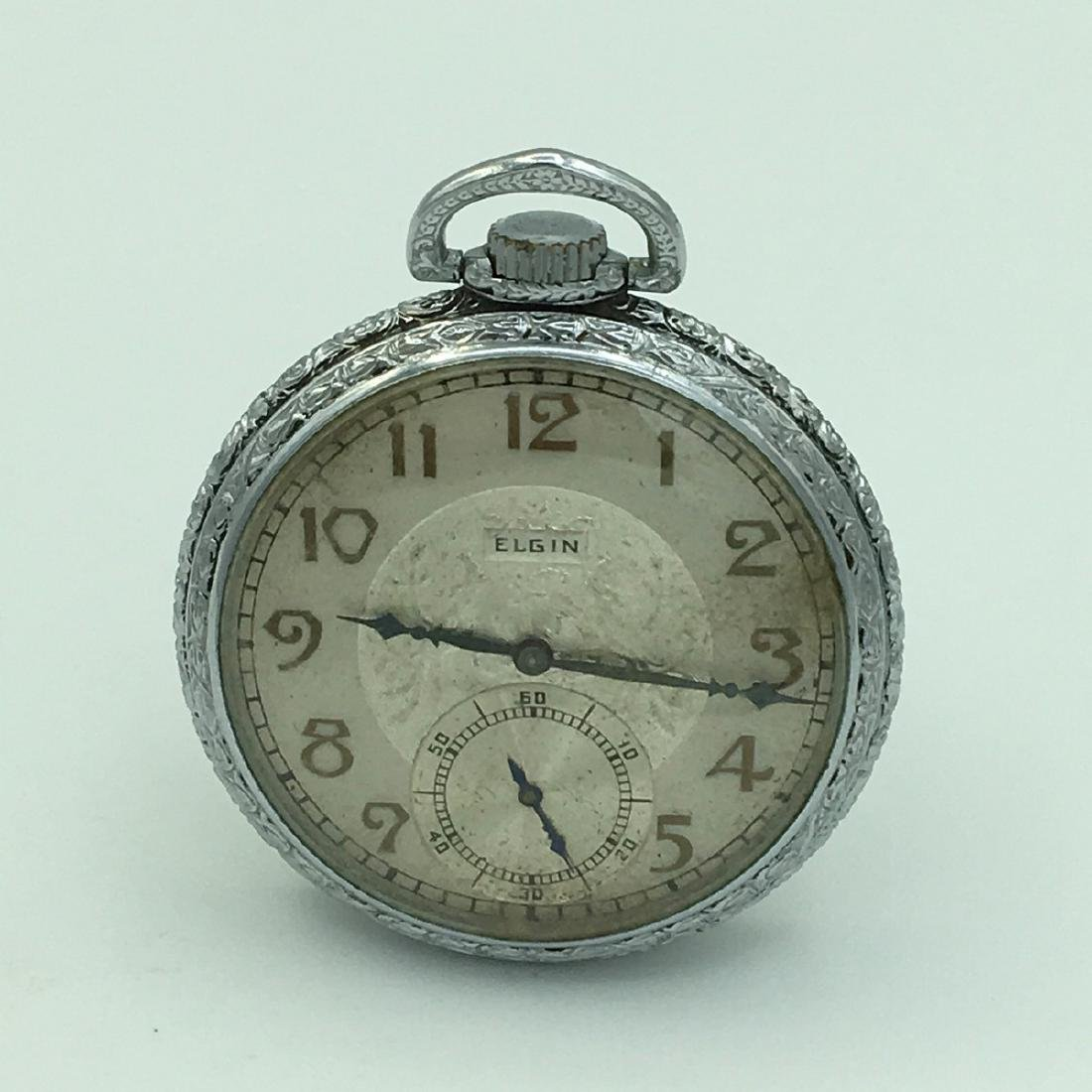 1935 Elgin Deco 15 Jewel Open Face Pocket Watch Model 3