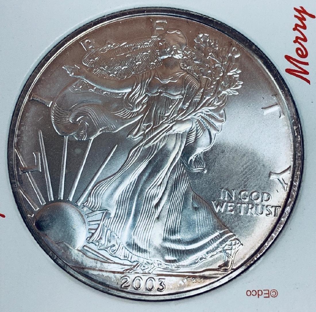 2003 $1 American Silver Eagle 1 oz .999 Fine Silver BU - 4