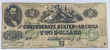 1862 $2 Confederate Notes T-43 Civil War - Second
