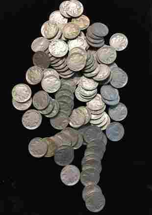 100 Mixed 1930s Buffalo Nickels