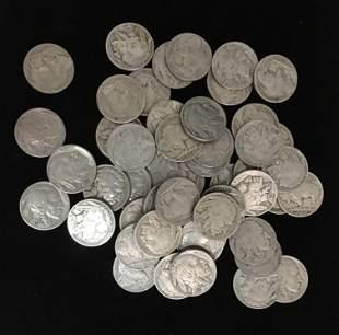 50 Mixed 1930s Buffalo Nickels