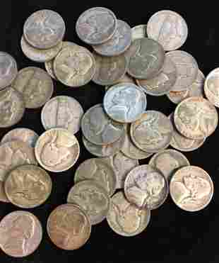 Lot of 40 Mixed War Time Silver Jefferson Nickels