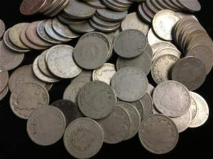 "Lot of 100 Mixed 1900s Liberty Head ""V"" Nickels"
