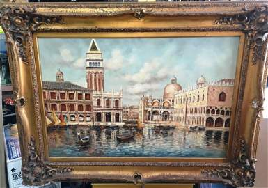 Scene of Venice by K. Young Signed Oil on Canvas 35 x