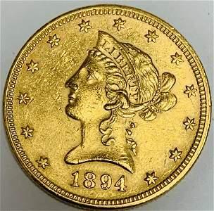 1894-P $10 Gold Liberty Eagle Ten Dollars BU