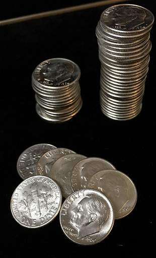 1964-D Roll of 50 Roosevelt Silver Dimes BU
