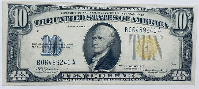 1934-A $10 Silver Certificate Yellow Seal North Africa
