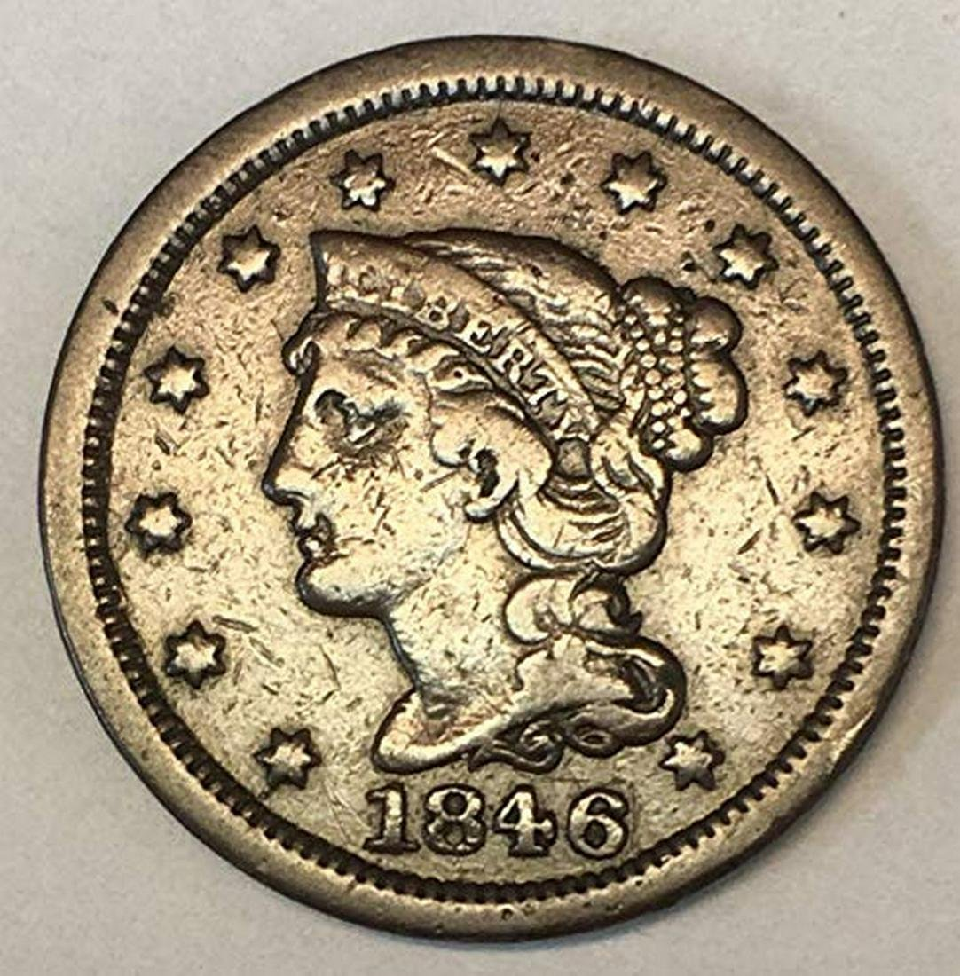1853 1c Braided Hair Large Cent Penny Coin VF Very Fine