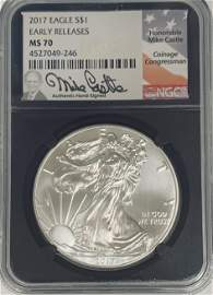 2017 $1 American Silver Eagle NGC MS70 Early Releases