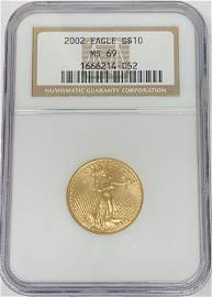 2002 $10 American Gold Eagle NGC MS69 1/4 oz Fine Gold