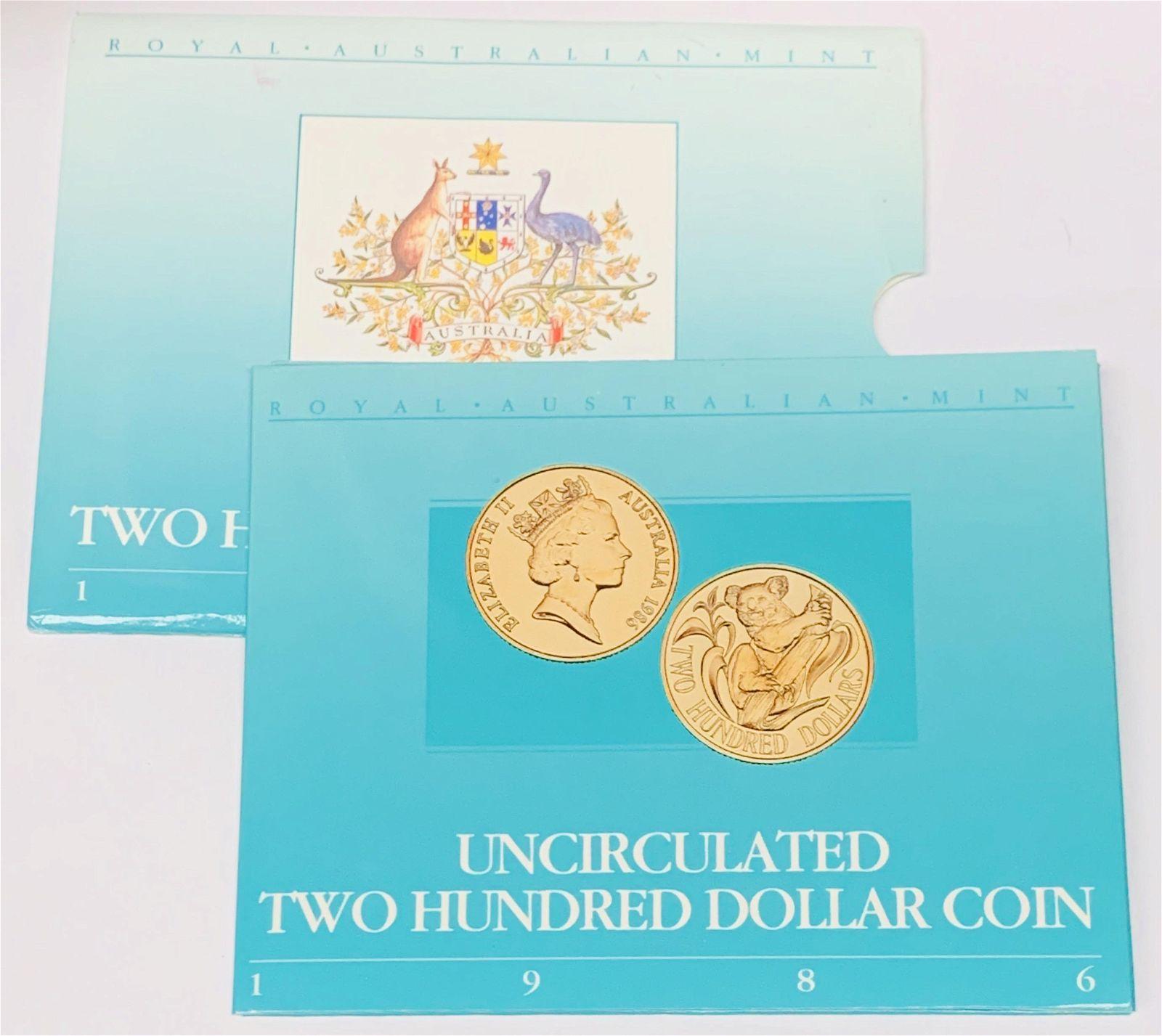 1986 Australia Koala $200 Gold Uncirculated Coin Royal