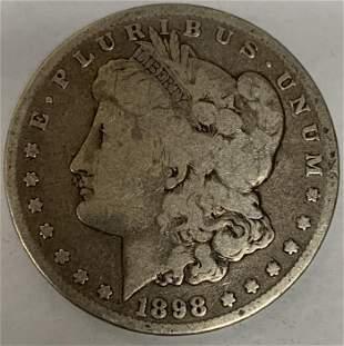 1898 S Morgan Silver Dollar Average Circulated $1 G-VG