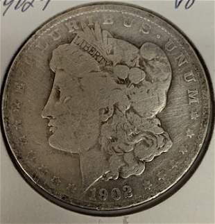 1902 P Morgan Silver Dollar Average Circulated $1 G-VG