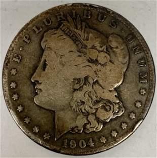 1904 S Morgan Silver Dollar Average Circulated $1 G-VG